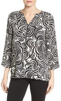 Chaus Abstract Print Zip Front Blouse