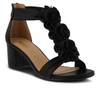 Spring Step Patrizia by Floral Block Heel Sandals - Quinteel