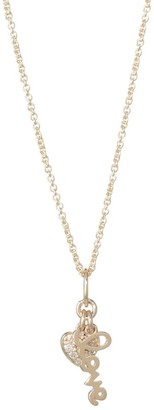 Sydney Evan Diamond and 14K Gold Lover Heart Duo Pendant Necklace