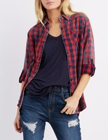 Charlotte Russe Stonewash Plaid Button-Up Shirt