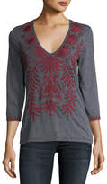 Johnny Was Saskla 3/4-Sleeve Embroidered Top
