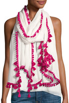 Neiman Marcus Mini Pompom Linen-Blend Scarf, Pink/White