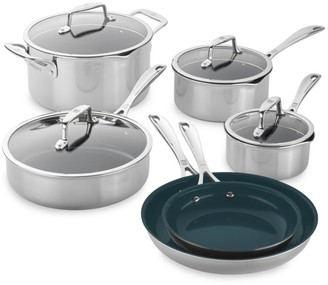 Zwilling J.A. Henckels Zwilling Clad CFX 10-Piece Stainless Steel Ceramic Nonstick Cookware Set