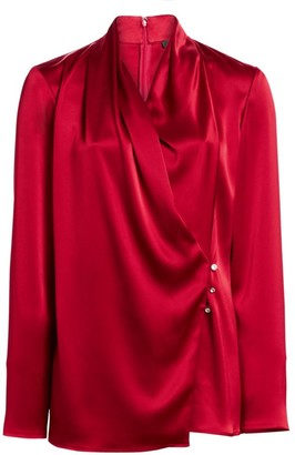 St. John Liquid Satin Wrap Blouse