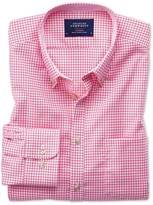 Slim Fit Button-down Non-iron Oxford Gingham Pink Cotton Shirt Single Cuff Size Xs By Charles Tyrwhitt
