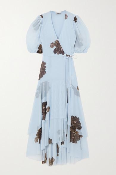 Ganni Floral-print Stretch-mesh Wrap Midi Dress - Light blue