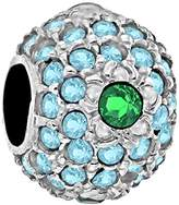 Tuscany Charms Sterling Silver Blue & Green Crystals Dot Bead