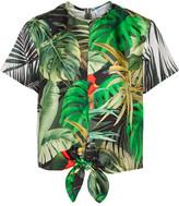 Max Mara Printed Silk-satin Top - Green