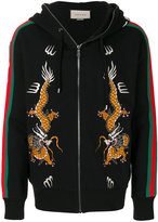 Gucci dragon embroidered zip hoodie