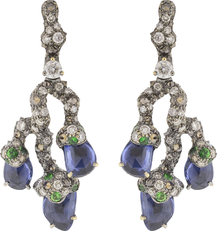 Arunashi Blue Sapphire Leaf Earrings