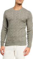 Ralph Lauren Purple Label Men's Cashmere Cable-Knit Crewneck Sweater, Light Gray Heather