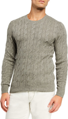 Ralph Lauren Men's Cashmere Cable-Knit Crewneck Sweater, Light Gray Heather
