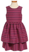 Oscar de la Renta Girl's Tiered Sleeveless Dress