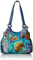 Anuschka Handpainted Leather 469-TRD Triple Compartment Medium Satchel
