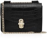 Reiss Elliott Turnlock Croc-Embossed Leather Shoulder Bag