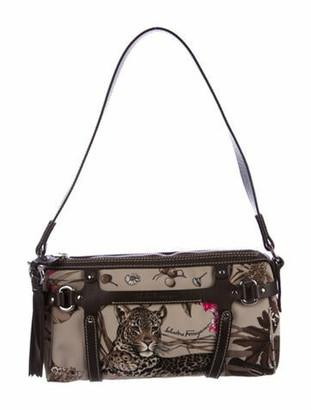 Salvatore Ferragamo Leather-Trimmed Jungle Safari Shoulder Bag Brown