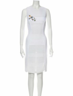 Christian Dior Crew Neck Knee-Length Dress White