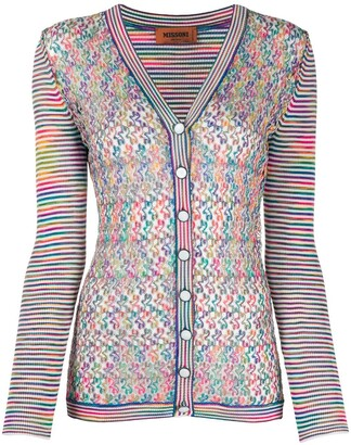 Missoni Pointelle Panel Striped Cardigan