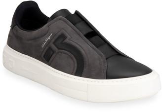 Salvatore Ferragamo Men's Tasko Suede Slip-On Sneakers