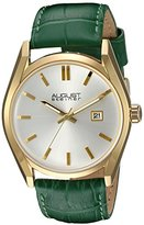 August Steiner Women's Gold-Tone Case with White Dial and Alligator Embossed Genuine Leather Green Strap Watch AS8221GN