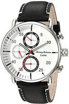 Tommy Bahama Men's Quartz Stainless Steel and Leather Casual Watch, Color:Black (Model: TB00014-01)