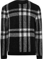 River Island MensBlack check slim fit sweater