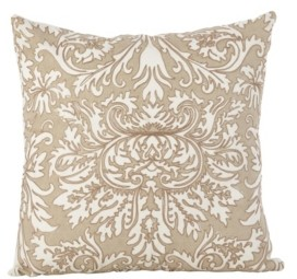 "Saro Lifestyle Stitched Damask Design Cotton Throw Pillow, 18"" x 18"""