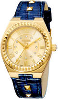 Ferré Milano Women's 36mm Stainless Steel Spike Watch with Leather Strap, Golden/Blue