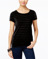 INC International Concepts Petite Velvet Illusion Stripe Top, Only at Macy's