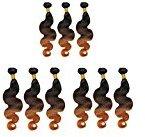 DFX Hair (TM) Pack of Ten 8~30 inches Ombre #1B/4/30 Brazilian Virgin Hair Body Wave 6A Grade (26)