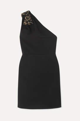 Miu Miu Sequined Bow-embellished One-shoulder Cady Mini Dress - Black