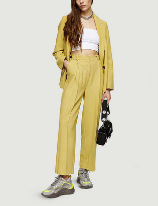 Topshop Double-breasted high-rise wide woven trousers