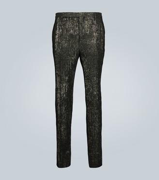 Saint Laurent Slim-fit tailored lame pants