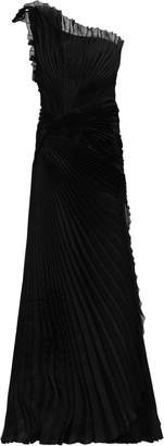 Alberta Ferretti One-shoulder Pleated Silk-organza Gown