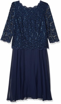 Alex Evenings Women's 20W Plus Size Tea-Length Lace Mock Dress