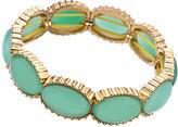 Blu Bijoux Gold And Mint Oval Cabochon Stretch Bangle Bracelet