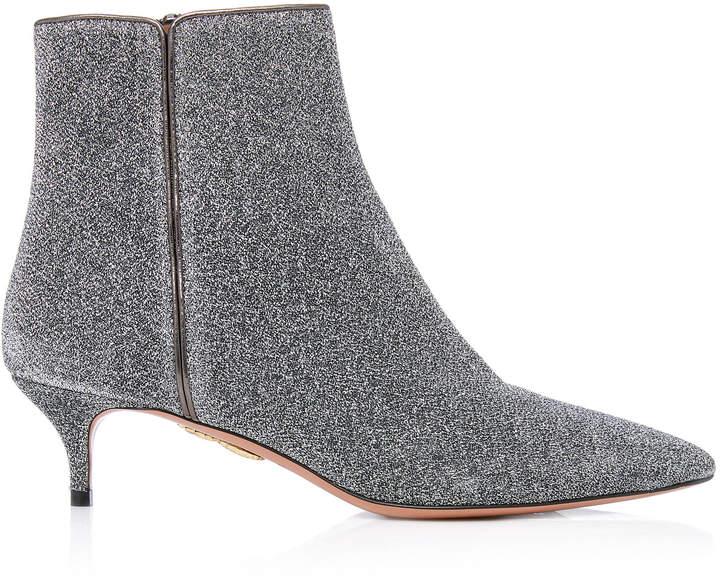 Aquazzura Quant Metallic Stretch-Knit Ankle Boots