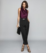 Reiss Laura - Bow Detail Satin Top in Berry