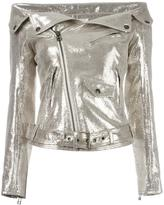 Faith Connexion off-shoulders glittery biker jacket - women - Lamb Skin/Polyester - 36