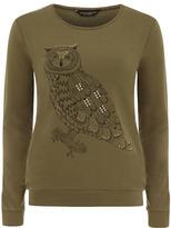 Dorothy Perkins Olive owl print sweat
