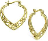 Giani Bernini Filigree Heart Hoop Earrings in 18k Gold-Plated Sterling Silver