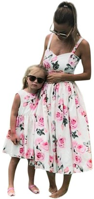 P & Lot Family Matching Dresses Mother Daughter Sleeveless Floral Dress Women Kids Clothes 3-9T