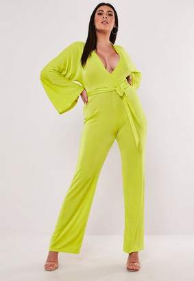 Missguided Plus Size Lime Batwing Slinky Wide Leg Romper