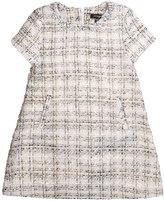 Imoga Natasha Short-Sleeve Tweed Shift Dress, Swan, Size 8-14