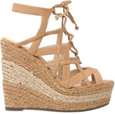 Schutz 130mm Suede Two Tone Rope Lace-Up Sandal