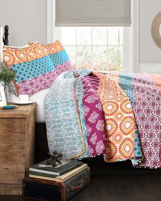Lush Decor Bohemian Stripe Quilt 3Pc Set