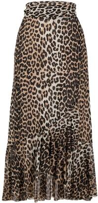 Ganni Leopard Print Tie Waist Skirt