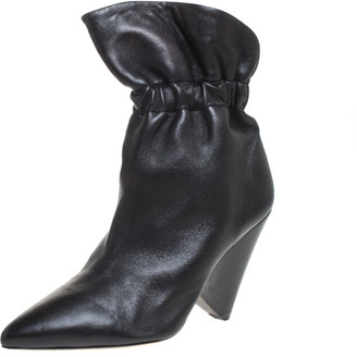 Isabel Marant Black Leather Lileas Pointed Toe Boots Size 38