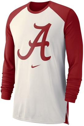 Nike Men's White Alabama Crimson Tide On-Court Basketball Elite Performance Long Sleeve T-Shirt