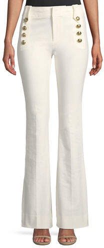 Derek Lam 10 Crosby Flare Trousers w/ Sailor Buttons